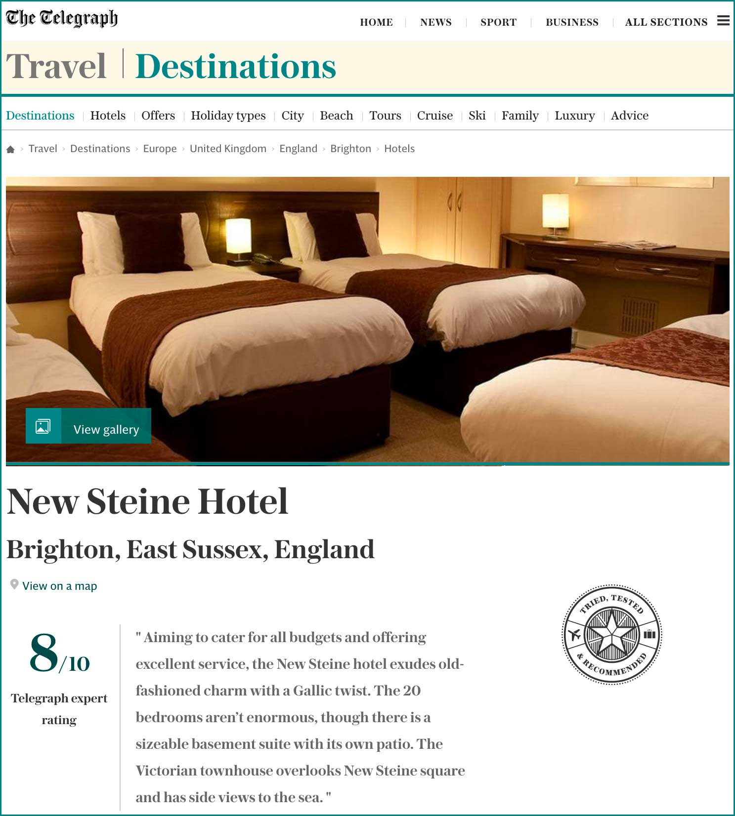 Telegraph Travel Destination – Brighton, New Steine Hotel, Spring 2017 – Read the review online here.