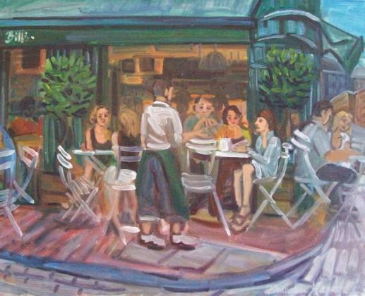 Philomena Harmsworth, painter, New Steine Hotel exhibition 'Bills-Lewes'