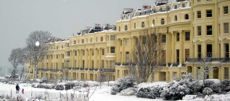 Brighton's beautiful Regency architecture in the snow